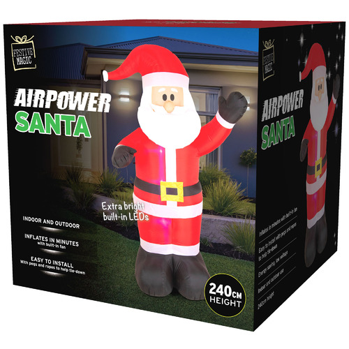 Temple & Webster 240cm LED Inflatable Waving Santa