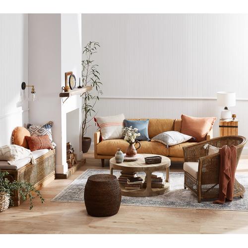 Temple & Webster Carson 3 Seater Italian Leather Sofa