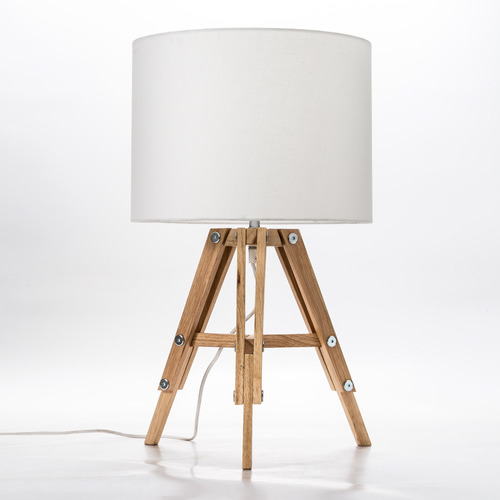 Temple & Webster Natural Benson Wooden Tripod Table Lamp