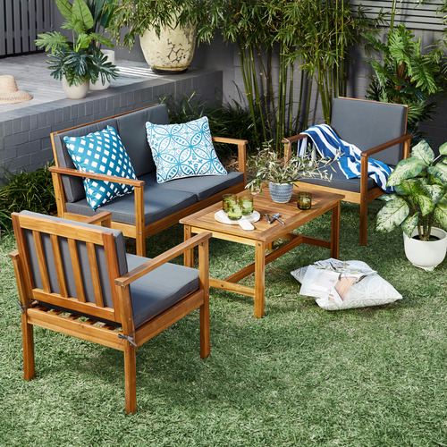 Temple & Webster 4 Seater Miami Wooden Outdoor Lounge & Table Set