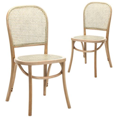Temple & Webster Luca Beech & Rattan Dining Chair & Reviews