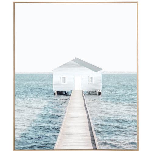 Temple & Webster Blue Hut Framed Canvas Wall Art