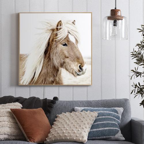 Temple & Webster Windswept Pony Framed Canvas Wall Art