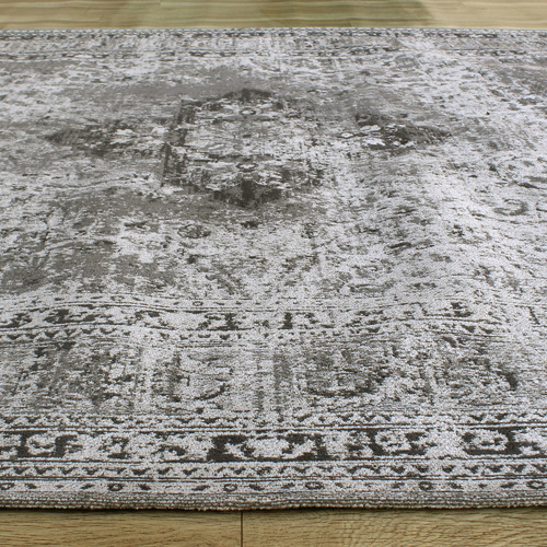 Temple & Webster Steel Ruby Cotton Chenille Rug
