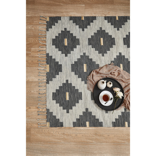 Temple & Webster Blue Nova Hand-Woven Wool Rug