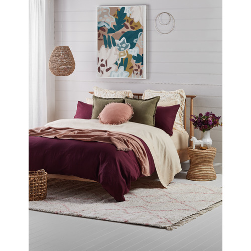 Temple & Webster Wine French Linen Quilt Cover Set