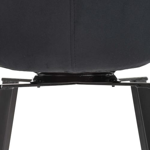 74cm Black Krystoffer Velvet Swivel Bar Stools
