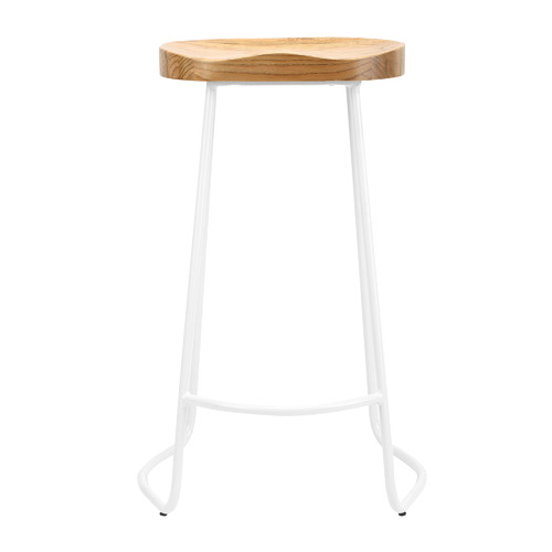 Temple & Webster Vintage-Style Elm Wood Barstools with White Legs