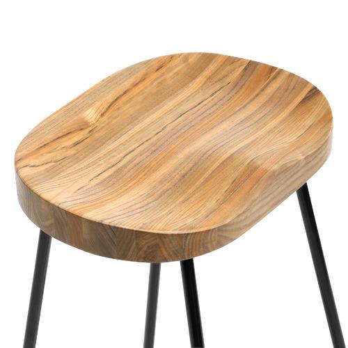 66cm Vintage-Style Elm Wood Barstools with Black Legs