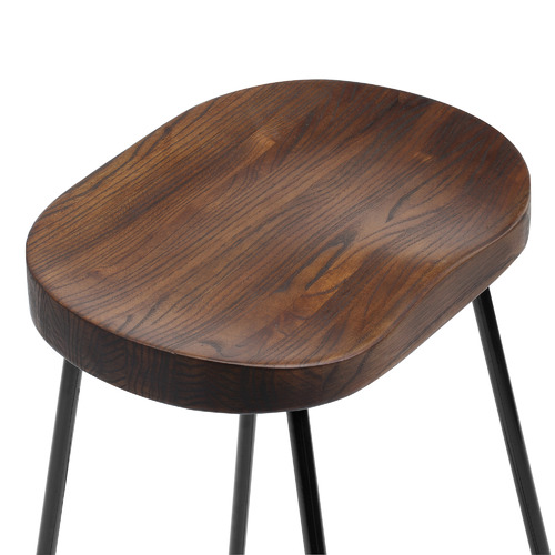Temple & Webster 66cm Vintage-Style Elm Wood Barstools with Black Legs