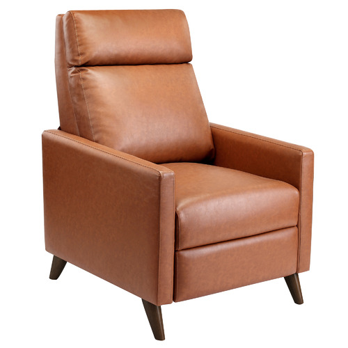Temple & Webster Tan Bauer Premium Faux Leather Recliner Chair