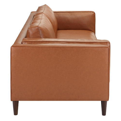 Temple & Webster Tan Brahm 3 Seater Premium Faux Leather Sofa