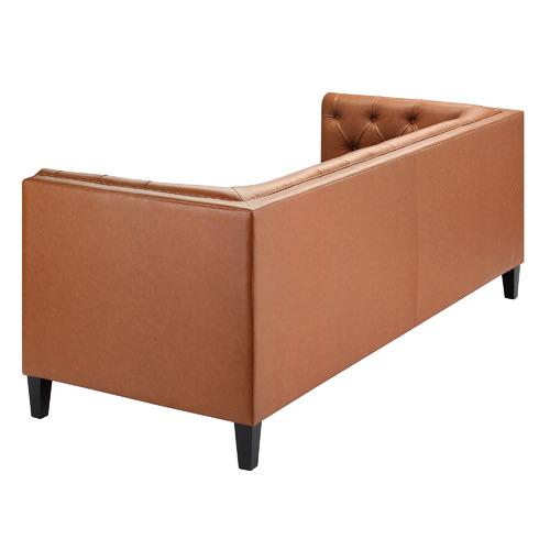Temple & Webster Tan Thiago 3 Seater Pemium Faux Leather Sofa