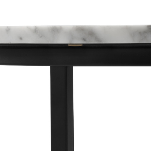 Serena Marble Round Side Table with Black Frame