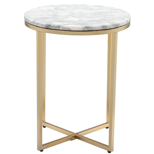 Serena Marble Round Side Table with Matte Gold Frame