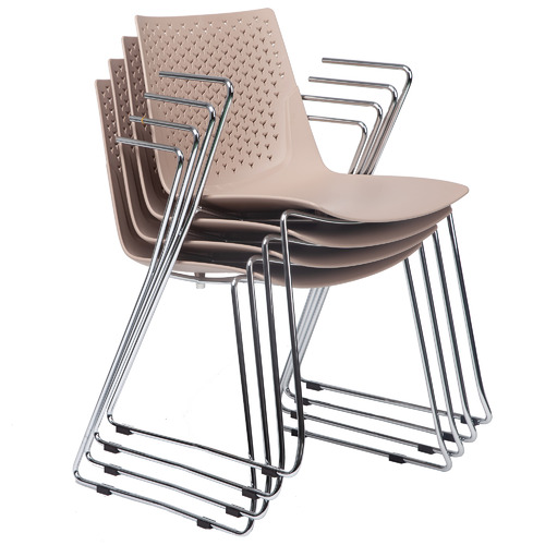 Brown Laser Stackable Office Conference Chairs