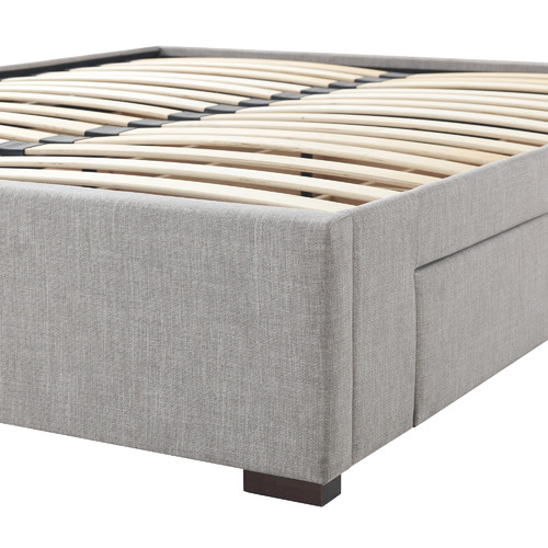 Temple & Webster Grey Lucas Queen Bed Base with Storage