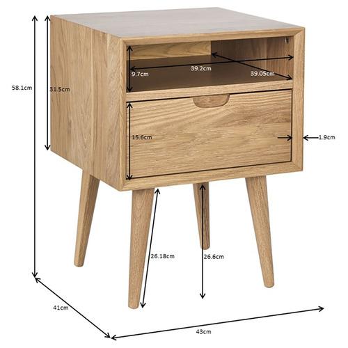 Olsen Oak Square 1 Drawer Bedside Table