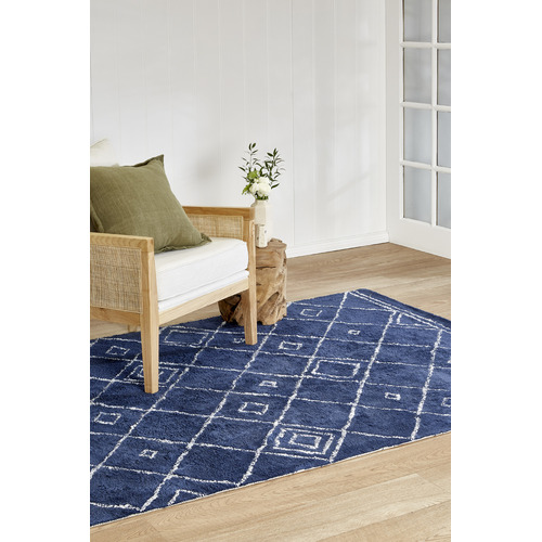 Temple & Webster Navy Blue Siena Cotton Rug