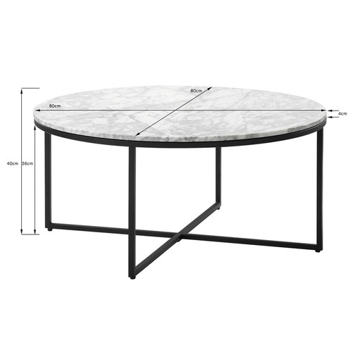 Temple & Webster 80cm White Serena Italian Carrara Marble Coffee Table