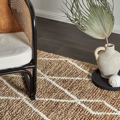 Temple & Webster White Loft Hand-Woven Jute-Blend Rug