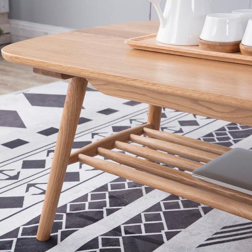 Temple & Webster Oscar Oak Coffee Table with Shelf