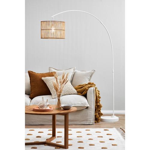 Temple & Webster Arc Rattan Floor Lamp