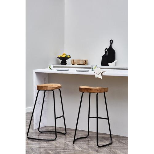 Temple & Webster 66cm Vintage-Style Elm Wood Barstools with Black Legs