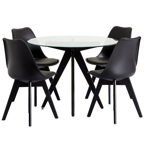 4 Seater Black Nova Dining Table Amp Chair Set Temple