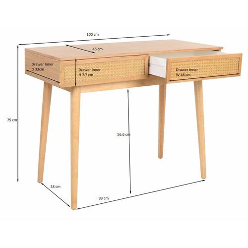 Light Oak Daintree Rattan & Oak Console Desk