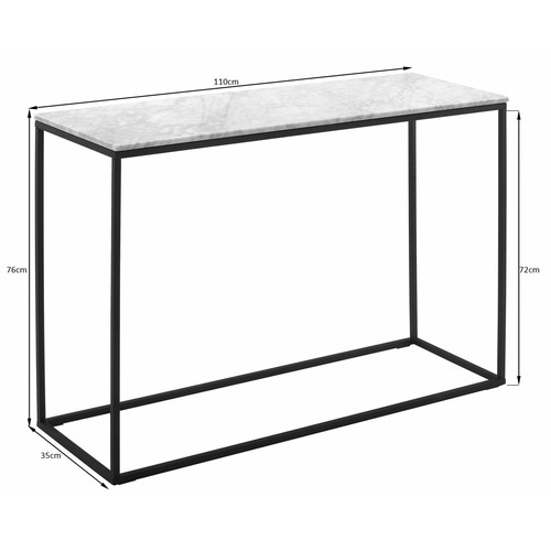 110cm White Serena Italian Carrara Marble Console Table