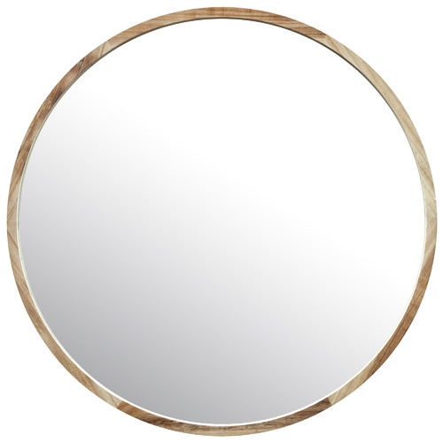 Temple & Webster Tate Round Wooden Framed Wall Mirror