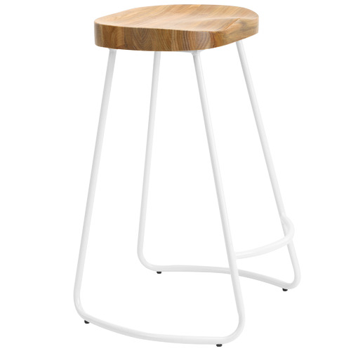 Temple & Webster 66cm Vintage-Style Elm Wood Barstools with White Legs