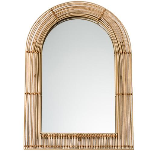 Tulum Arched Rattan & Metal Mirror
