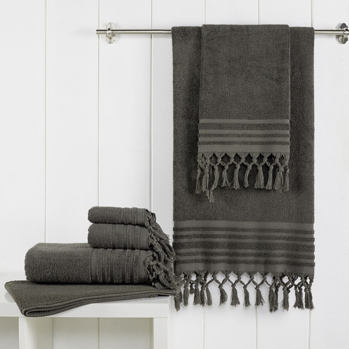 Temple & Webster 6 Piece Charcoal Knotted Byron Turkish Cotton Towel Set