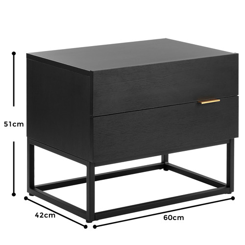 Emil Metal & Wood Bedside Table