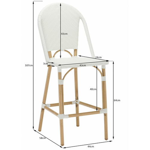 Temple & Webster 64cm White Paris PE Rattan Outdoor High Back Bar Stool