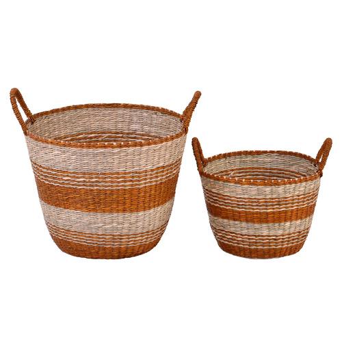 2 Piece Cinnamon Stripe Seagrass Basket Set