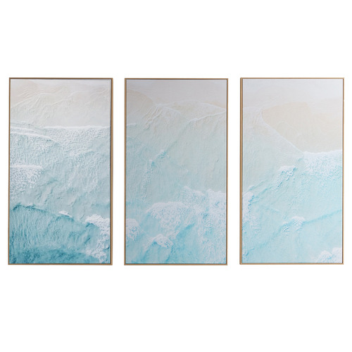 Temple & Webster Turquoise Surf Framed Canvas Wall Art Triptych