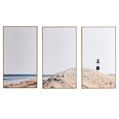 Temple & Webster Lighthouse Lookout Framed Canvas Wall Art Triptych