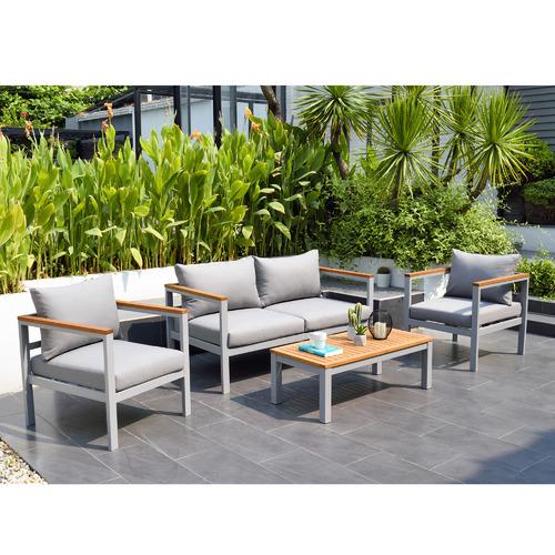 Maui Outdoor Aluminium & Timber 4-seater Lounge Set