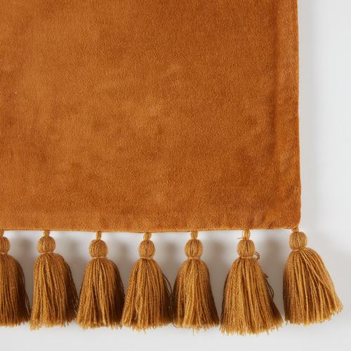 Brown Minnie Velvet Tasselled Rectangular Cotton Cushion
