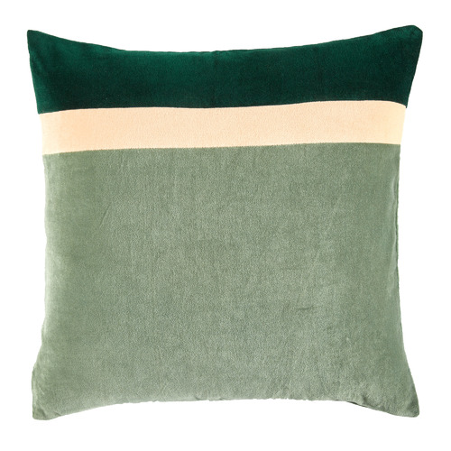 Temple & Webster Sage Nell Patch Velvet Cotton Cushion