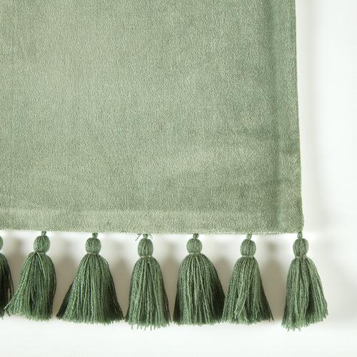 Sage Minnie Velvet Tasselled Rectangular Cotton Cushion
