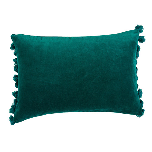 Temple & Webster Teal Minnie Tasselled Velvet Cushion