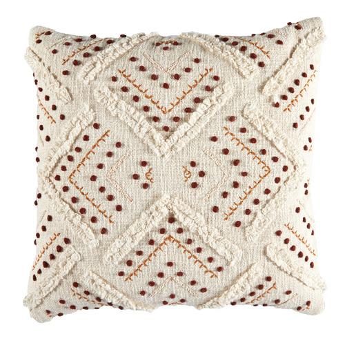 Rust Prairie Embroided Cotton Cushion