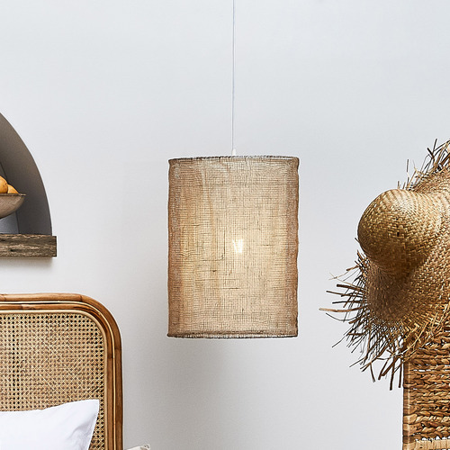 Temple & Webster Natural Atlas Jute 55cm Tall Pendant Light