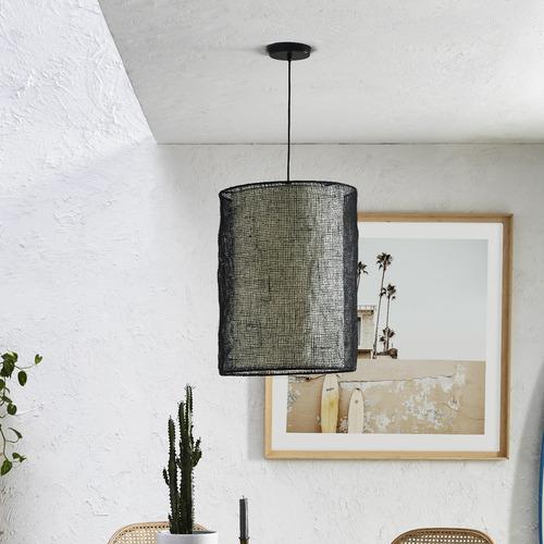 Temple & Webster Black Atlas Jute 55cm Tall Pendant Light