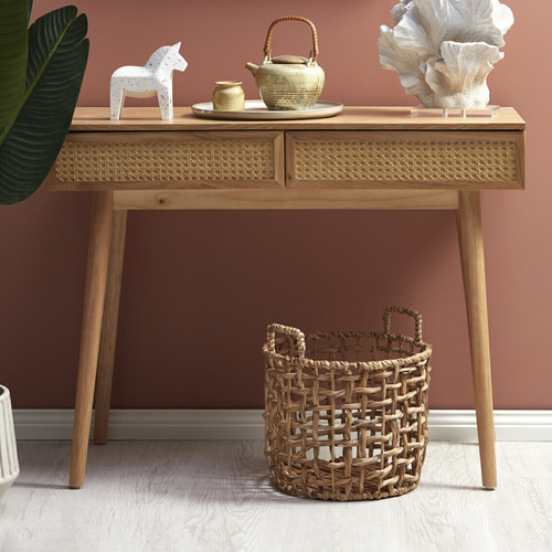Temple & Webster Light Oak Daintree Rattan & Oak Console Desk