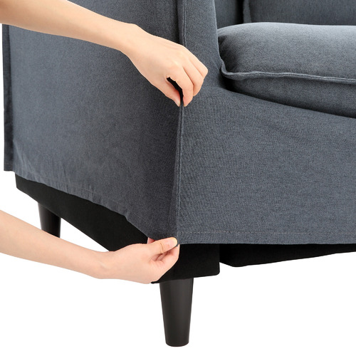 Charcoal Vaucluse 3 Seater Slipcover Sofa